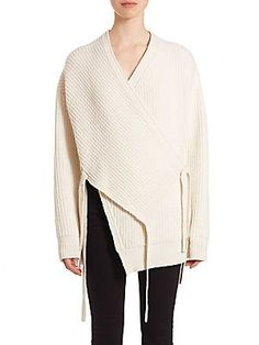 Proenza Schouler Stretch Wool & Cashmere Wrap Cardiganoff white