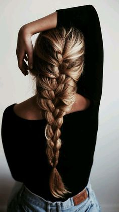 Long french braid. blonde balayage highlights