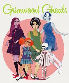 The Scooby-Doo Ghoul School girls as 1960s monster dolls.