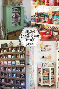 I love using vintage storage ideas in my sewing room! And I'm always looking for new ideas for creative and fun storage so I. Craft Room Storage, Sewing Room Storage, Sewing Room Decor, Craft Room Decor, Craft Room Design, My Sewing Room, Diy Storage, Cubby Storage, Room Organization