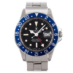 """Rolex Stainless Steel GMT-Master Wristwatch with """"All Blue"""" Bezel 