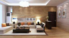 un salon élégant avec une jolie petite table basse en bois, canapé beige, coussins colorés