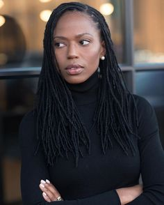 locs Lately, I've given countless side-eyes like this one Rhea Lohman captured. I can control my wor Leda Muir, Faux Locs Styles, Dreads Styles, Curly Hair Styles, Natural Hair Styles, Dreadlock Hairstyles, Cut Hairstyles, Dreadlock Styles, Hairstyles Pictures