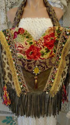 Large Handmade BEACH BAG Fringe Hippie Tote Vintage Fabric Gypsy Purse tmyers #Handmade #TotesShoppers