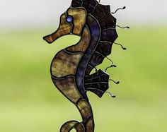 Stained glass seahorse suncatcher, stain glass sea horse ornament, glass seahorse, ocean life, sea, beach decoration