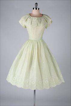 vintage 1950s dress . celery green organza . by millstreetvintage