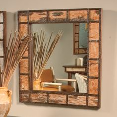 Black Forest Hickory and Birch Bark Mirror