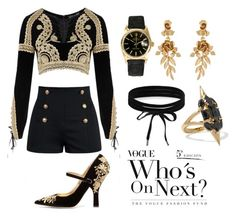 """""""black&gold"""" by srryangie ❤ liked on Polyvore featuring For Love & Lemons, Rolex, Boohoo, Oscar de la Renta and Noir Jewelry"""