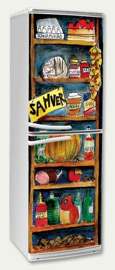 Refrigerator sticker. Storage, illustration by Olivia Osik