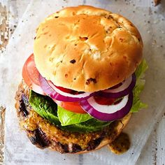 This Best-Ever Grilled Burger starts with a patty made from beef, pork, Parmesan and fresh basil - can use ground poultry or a veggie