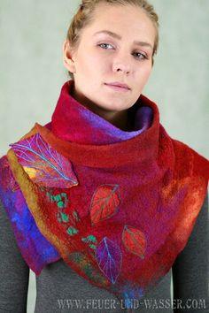 Felted scarf - merino wool and silk - felted scarves - Summer Bloom Nuno Felt Cowl - FeuerUndWasser