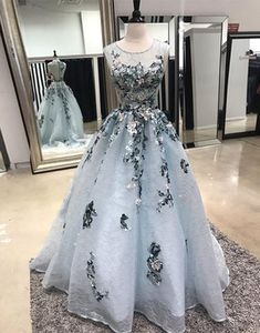 Elegant gray tulle see through back long A-line formal prom dress with lace appliques #prom #dress #promdress