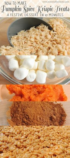 Pumpkin Spice Krispie Treats: A Festive Dessert in 10 Minutes Shut the front door! Pumpkin Spice Rice Krispie Treats: A Festive Fall Dessert in 10 Minutes by Essentially Eclectic Source by pinksequences Yummy Treats, Sweet Treats, Yummy Food, Pumpkin Recipes, Fall Recipes, Rice Recipes, Fudge Recipes, Kraft Recipes, Recipies