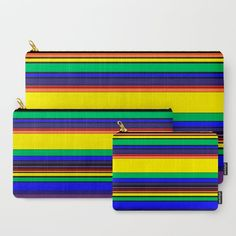 Complex Stripes - Rainbow Carry-All Pouch by laec Beautiful Bags, Carry On, Zip Around Wallet, Pouch, Stripes, Rainbow, Stuff To Buy, Rain Bow, Rainbows