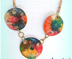 summertime colorful necklace polymer clay by SueEllenDreamland