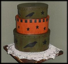 painted boxes with crow...