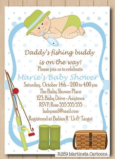 Perfect Fishing Invitation For Baby Shower Or First By MartinelaCartoons, $20.00