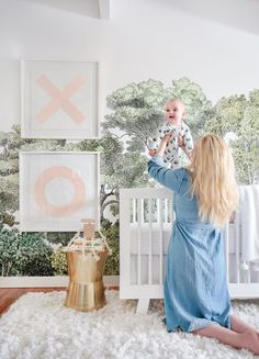 This site has a ton of wallpaper inspiration or baby's nursery! Treetop Wallpaper for Jungle themed nursery. Gender neutral decor idea for baby's room. Nursery Themes, Nursery Room, Kids Bedroom, Baby Room, Chic Nursery, Themed Nursery, Girl Nursery Art, Kids Rooms, Nursery Ideas
