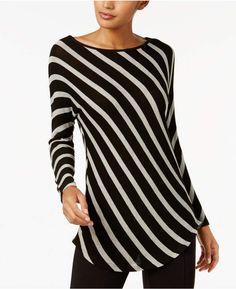 e797dccdf8 INC International Concepts I.n.c. Striped Tunic, Created for Macy's Csíkos  Ruha, Elegáns Outfit,