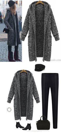 Hooded Lapel Knit Long Cardigan Sweater Coat for big sale! #sweater #lapel #knit #long #cardigan #coat