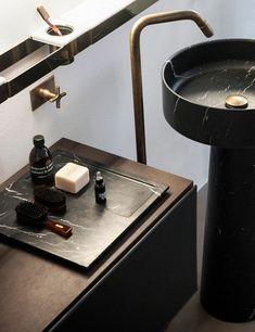 lavabo colonne noir