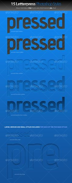Pressed - Letterpress Photoshop Styles $5.00