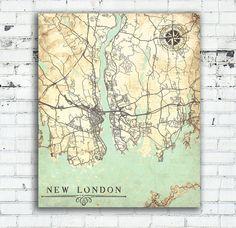 NEW LONDON Canvas Print CT Connecticut Vintage by NatalyBorichArt
