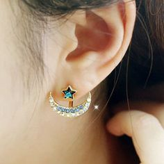 Moon Star Rhinestone Stud Earrings - BLUE