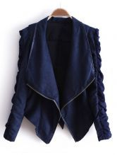 Navy Lapel Long Sleeve Zipper Drawstring Crop Coat - I love this!
