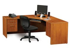 The Maverick Series Corner Computer Desk is a top seller at our San Diego office furniture outlet. The desk can be customized with locks, handles, and different finishes. We also have matching bookcases, conference tables, and other items available.