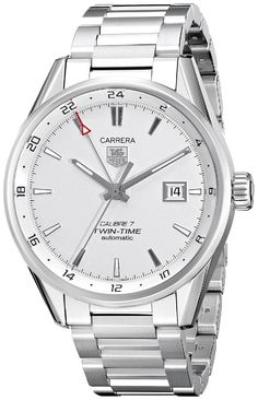Men watches : TAG Heuer Men's WAR2011.BA0723 Carrera Analog Display Swiss Automatic Silver Watch