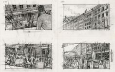 The murder of Don Fanucci in The Godfather 2 - Storyboard by Alex Tavoularis for Francis Ford Coppola