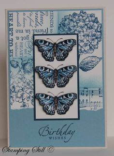 /stampingstill.blogspot.com  Stamps : because i care, all a flutter, elements of style, music notes wheel, friendly words wheel, sincere salutationsCard : NQN, very vanilla, Baja breeze, naturals ivory, shimmery white  Ink : baja breeze, NQN, stazon, choc chip, versamark  mini glue dots, aqua painter, sponge, clear embossing powder      Read more: http://www.splitcoaststampers.com/gallery/photo/1884118#ixzz2TpV3fBx9