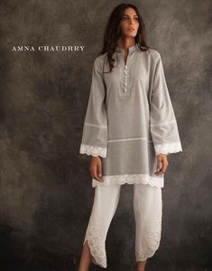 Grey n white Pakistani Dresses Casual, Pakistani Dress Design, Indian Dresses, Casual Dresses, Stylish Dress Designs, Kurta Style, Kurta Designs Women, Desi Clothes, Indian Designer Outfits
