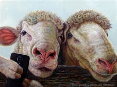 """Let's get a """"Selfie"""" today! """"Selfie"""" by Lucia Heffernan, oil painting 18x24, from NOAPS Fall Exhibit. What a fun painting!"""