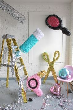 Hair pinatas - make them for a Hairstylist Opening or Birthday - step by step Photo tutorial Bildanleitung