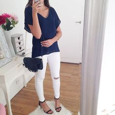 A special shoutout to Marina! She is wearing our .Kate Lee little fringe bag CILEY style in navy!   #katelee #style