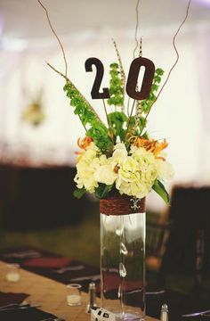 Gorgeous rustic inspired floral table numbers by http://www.events-in-bloom.com #Flowers #Tablenumbers #TheVList