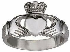 18kt White gold plated Sterling silver .925 Celtic Claddagh Love friendship Best friends ring Irish Jewelry. $23.99, via Etsy.