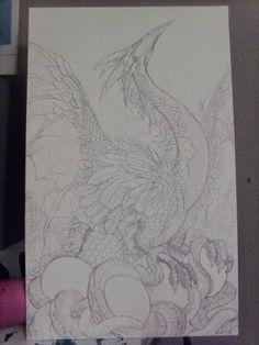 #WIP #4ofCoins #FourOfCoins #JessicaDouglas #SeventyEightTarot #78Tarot #dragon #sketch #concept #art #illustration #art #scales #feathers #eggs #dragonmother http://jessicamdouglas.deviantart.com/