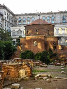 Sofia, Bulgaria This Roman Bath is in the middle of some modern office buildings.  Very strange at first glance.
