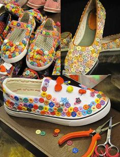 button by ArtChoice Beaded Shoes, Embellished Shoes, Diy Fashion, Fashion Shoes, Shoe Makeover, Creative Shoes, Shoe Crafts, Diy Crafts, Decorated Shoes