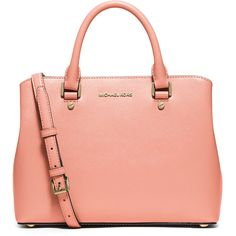 MICHAEL Michael Kors Savannah Medium Satchel Bag ($275) ❤ liked on Polyvore featuring bags, handbags, peach, patent leather handbags, red handbags, patent leather purse, zipper purse and satchel handbags