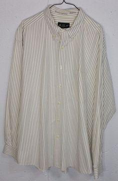 Eddie Bauer Mens Cream Striped 100%Cotton Long Sleeve Button Down Dress Shirt XL #EddieBauer #ButtonFront