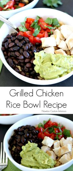Learn how to make this delicious grilled chicken rice bowl with this detailed recipe, which makes this a popular pin!