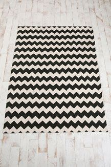 Chevron Rug from Urban Outfitters. Can't decide on the black or blue?  85 euro