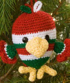 Crochet ~ Bird Ornament ~ Medium Worsted Weight [4] Yarn ~ {Use Seahawks colors}