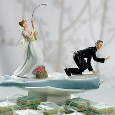 Fishing Bride & Caught Groom Mix and Match Cake Topper | Buy at Wedding Favors Unlimited (http://www.weddingfavorsunlimited.com/fishing_bride_caught_groom_cake_topper.html).