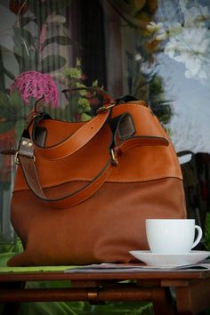 Leather camel /brown tote bag by ladyBuq on Etsy, $145.00