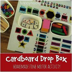 Cardboard Drop Box Fine Motor Activity - Happy Hooligans